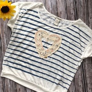 American Rag ivory and blue stripe top with heart